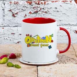 Öğretmenlere Özel Tasarımlı Hediye Renkli Kahve Kupası