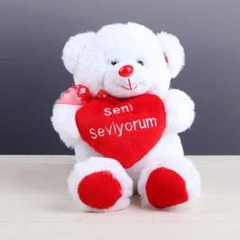 Seni Seviyorum Kalpli 28 Cm Peluş Ayı
