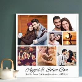 Sevgiliye Hediye 7 Fotoğraflı Hediye Kanvas Tablo