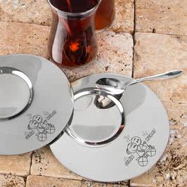 Sevimli Aşıklar Tasarımlı Hediyelik 2li Çay Bardak Seti