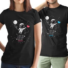 Sevimli Astronot Mesajlı İkili Sevgili Tişört Kombini