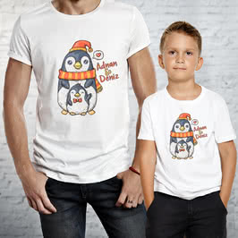 Sevimli Taraftarlar Tasarımlı Baba ve Çoçuk Tişörtü