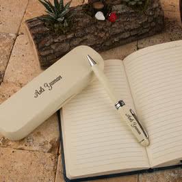 Şık Ahşap Kutulu İsim Yazılı Beyaz Kalem Seti