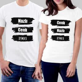 Siyah Beyaz Renkli İsimli Ve Tarihli Sevgili Tişört Kombini
