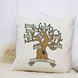 Soy Ağacı Tasarımlı İsim Yazılı Hediye Yastık