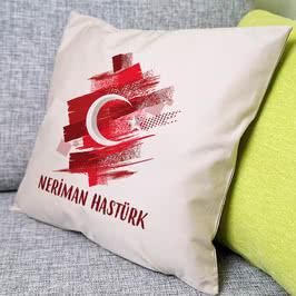 Türk Bayraklı İsme Özel Hediye Yastık