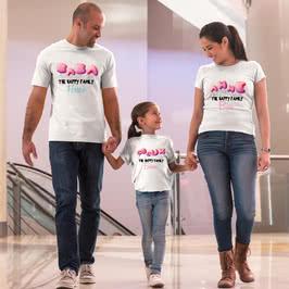 Uçan Balon Tasarımlı 3 lü Aile Tişört Seti