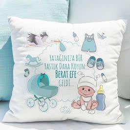 Yeni Doğan Hediyesi Erkek Bebeğe Esprili Yastık