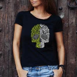 Kafatası Tasarımlı Baskılı Tişört