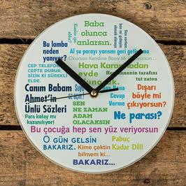 Klasik Baba Sözleri Tasarımlı Cam Duvar Saati