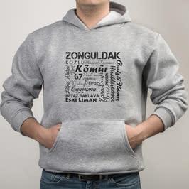 Zonguldaklıya Özel Şehir Özellikleri Tasarımlı Kapşonlu Sweatshirt