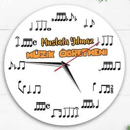 Müzik Öğretmenine Nota Baskılı Duvar Saati