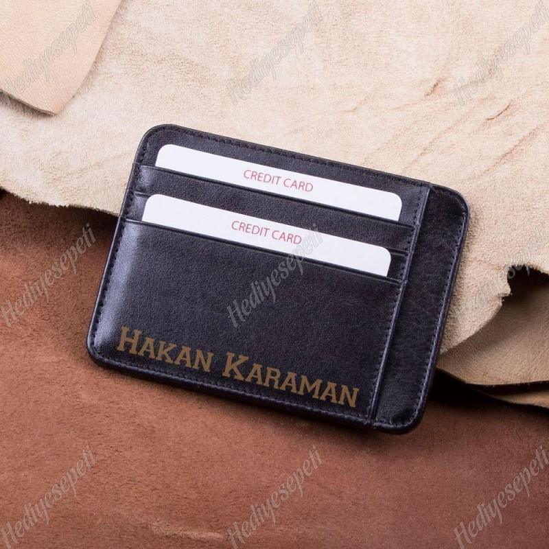 İsimli Deri Kredi Kartlık